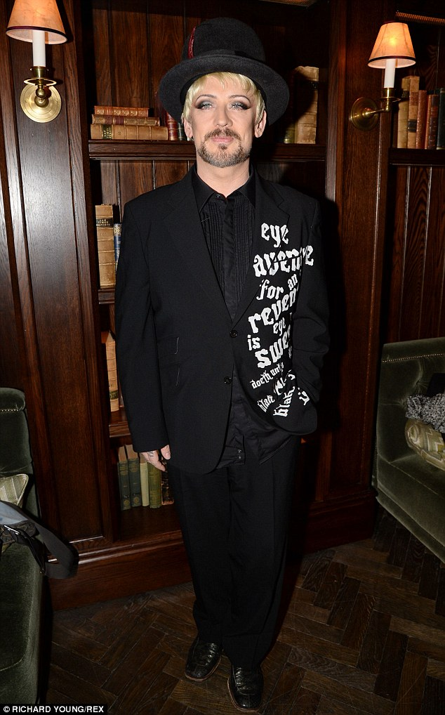 Blondie: Boy George shows off his fair-haired barnet at the Esquire party for London Collections: Men