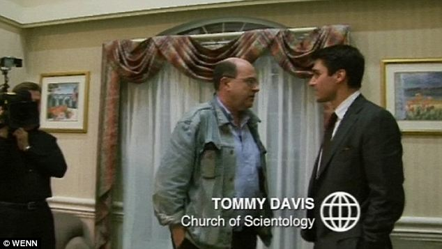 Davis, right, the son of Hollywood actress Ann Archer, was questioned by the BBC reporter for the documentary. Davis was berated by Miscavige who called him a 'generality infested c***-sucking motherf*****'