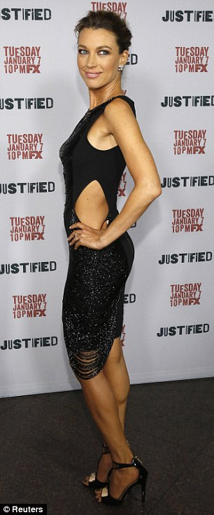 Striking: Natalie Zea poses at a premiere screening for season 5 of the television series Justified at the DGA theatre in Los Angeles, California