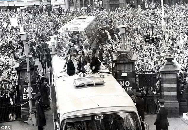 Special: West Ham players parade the FA Cup at Newham Town Hall after beating Fulham in the 1975 final