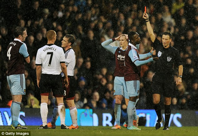Losing respect: Kevin Nolan was sent off twice in four games for West Ham