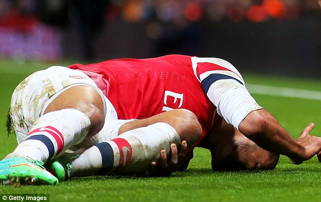 Crocked: Theo Walcott will be out of action for six months after injuring his anterior cruciate ligament
