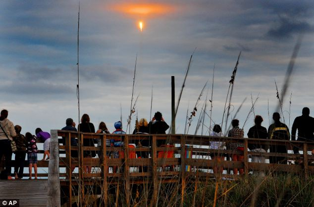 Spectacle: Space fans gather at Cape Canaveral to observe the launch
