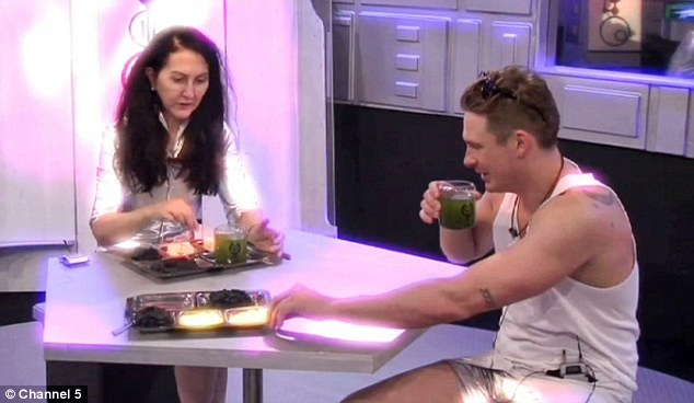 Grubs up: Lee and Liz had to work together as part of the task