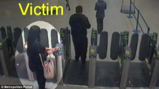 Followed: Naomi Oni, 21, circled, using her oyster card at a London station before she was attacked
