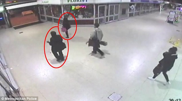 CCTV footage which shows a woman in a niqab following Naomi Oni through the station