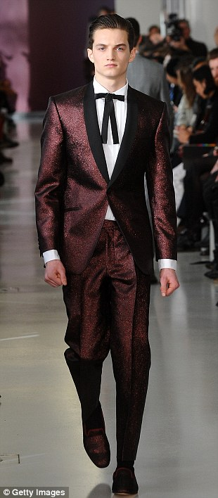 Suave: Crisp tailoring and muted colours were the order of the day at Richard James. 'Dream biker jackets, racing green and sparkly suits (not all at once)' mused Nick Grimshaw