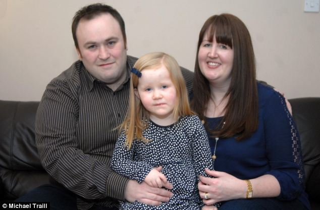 Hannah Erskine (pictured with her parents, William and Gillian) was born with the main arteries in her heart the wrong way around and with a severe infection. Her parents were warned she would probably not survive