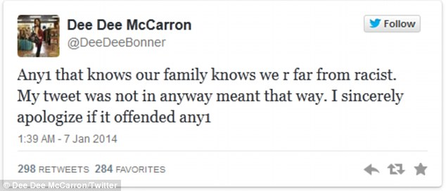 Denial: Dee Dee McCarron clarified to her followers on Twitter that her attack on Winston was not racist