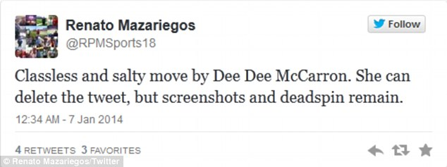 Critical: This Twitter user is appalled by the language that McCarron used against Winston