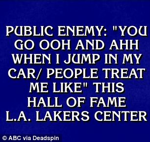 Paying tribute to a past contestant: One of the answers was Kareem Abdul Jabbar, who previously came on the show