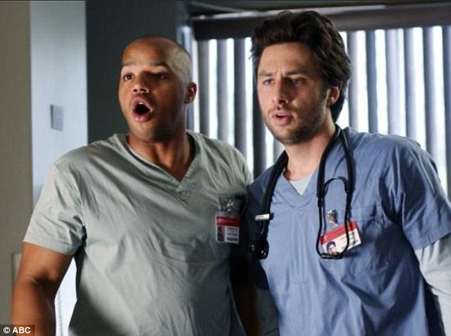 Inflated ego: Muhney reportedly bragged to his Veronica Mars castmates that he was up for the lead role of JD in Scrubs, but lost out to Zach Braff (right) due to being 'too good looking'