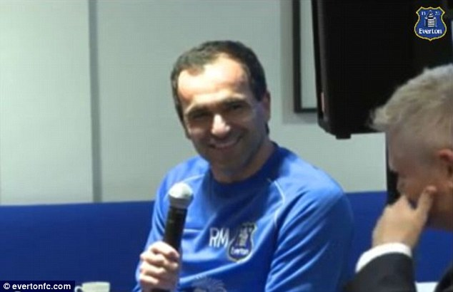 Come on you brews! Martinez was talking to director of communications Alan Myers at the 'Everton Tea Party'