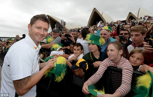 Smiles better: Michael Clarke's side outplayed England in every department