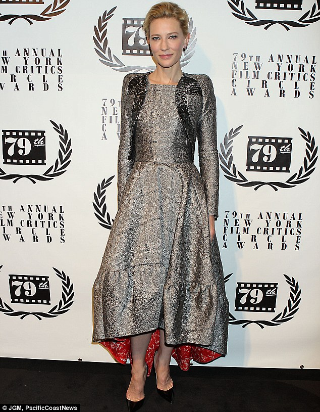 New York glamour: Before arriving at LAX, Cate Blanchett stunned in a silver gown at the New York Film Critics Circle Awards