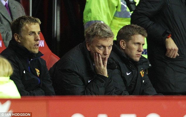 Unhappy: Moyes and assistant Phil Neville on the bench during the game