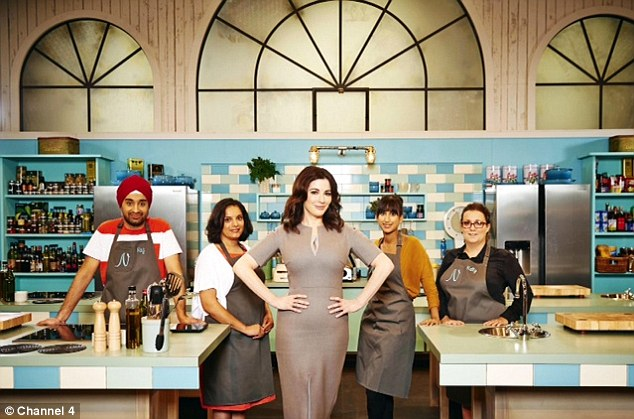 The team: Nigella and her team are hoping to win the new cooking competition