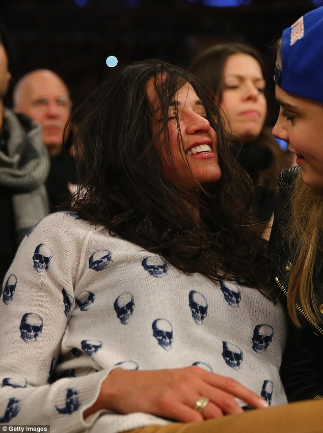 Flustered: The 35-year-old actress looked a bit out of it, as Cara studied her facial expression