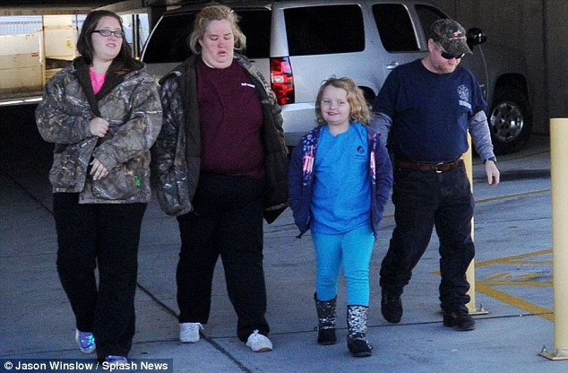 Aftermath: Honey Boo Boo was seen with Mama June, Sugar Bear and Pumpkin outside their local police station on Wednesday after dealing with details relating to the crash