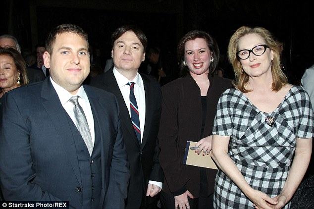 Star-studded: She was also spotted with Jonah Hill and Mike Myers later in the evening