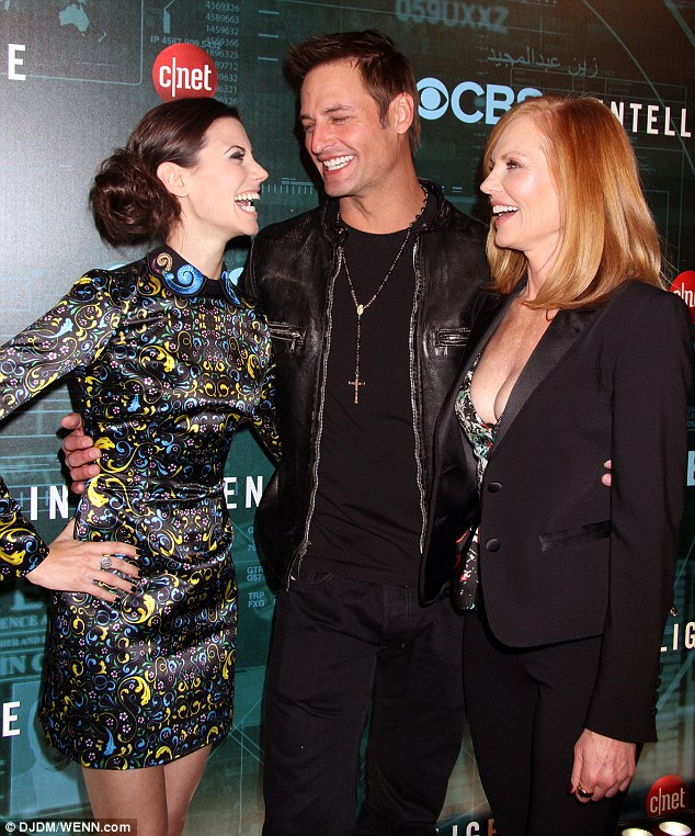 Having a blast: Marg was joined on the red carpet at the Venetian Hotel and Casino by co-stars Josh and Meghan Ory and the trio shared a big laugh