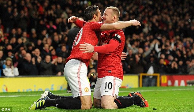 Shining stars: Wayne Rooney (right) has been United's best player this season but the loss of his strike partner Robin van Persie (left) has hit them hard