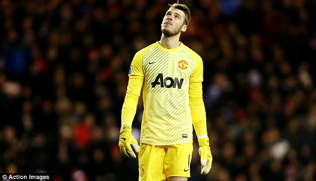 Heaven help us: David de Gea seems as if he is looking for divine intervention to stop United's poor run