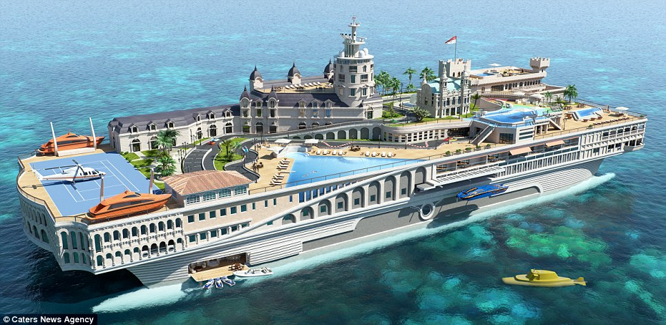 A floating palace: 'The Streets Of Monaco' is a concept for a £244million yacht that incorporates landmarks from the city-state, including the F1 track, including go karts