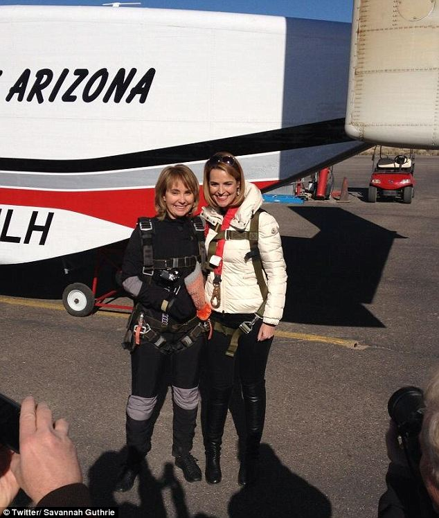 Get ready! TV host Savannah Guthrie (right) tweeted this photo of Gabby Giffords just before going up in the plane