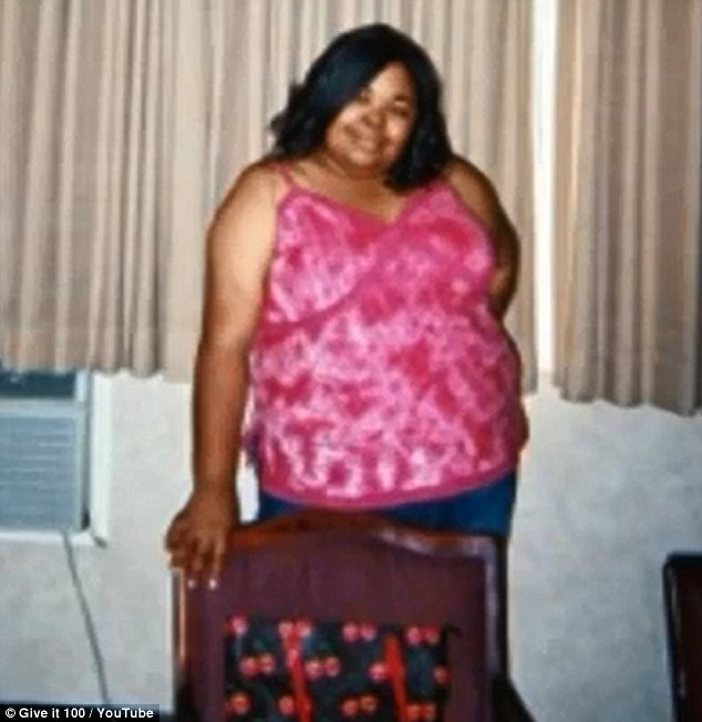 Flashback: At her heaviest Ms Shurn weighed 348lbs. She is now determined to continue her exercise video diary into 2014