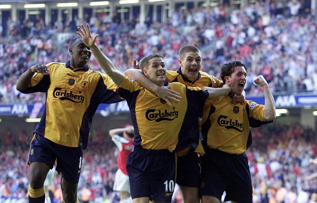 Glimpse: Liverpool have had some glory since, including winning the FA Cup, UEFA Cup and League Cup in 2001