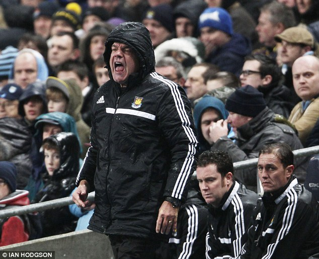 Lost cause: Under-fire West Ham boss Allardyce shouts instructions to his side in another heavy defeat