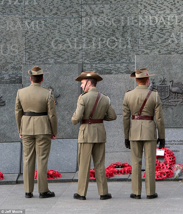 Remembrance: Australian and New Zealand soldiers gathered at Hyde Park Corner to commemorate the 93rd anniversary of the Gallipoli landing which claimed more than 130,000 lives during World War I