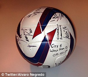 Alvaro Negredo tweeted this picture of the match ball