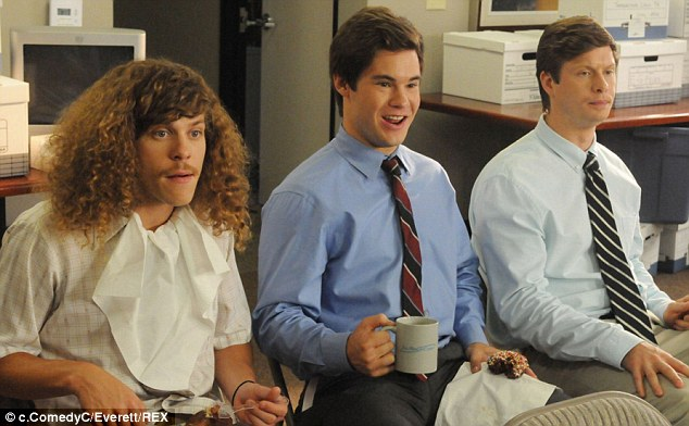 Stay in school: Blake, Adam and Anders, shown in a 2011 scene in Workaholics, work together at a telemarketing company in the show