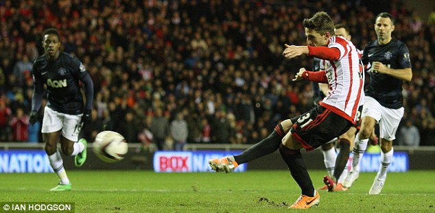 Paying the penalty: United lost at Sunderland courtesy of this spot-kick by Fabio Borini