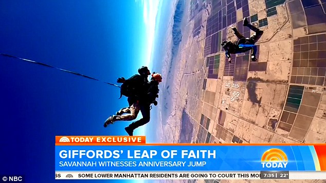 Gabby Giffords took part in a skydive on the third anniversary of the shooting in Tucson, Arizona to reclaim the day where she almost lost her life