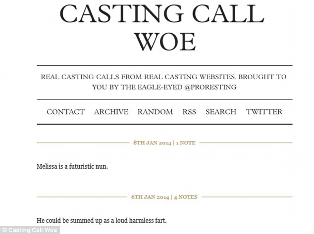 Woe no: Miss L's blog, Casting Call Woe, charts some of the more ridiculous casting messages