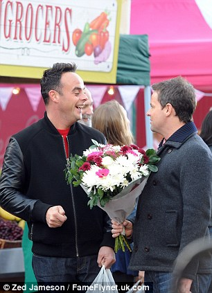 Not for you! Dec had a large bouquet in his hand as he chatted away to his pal