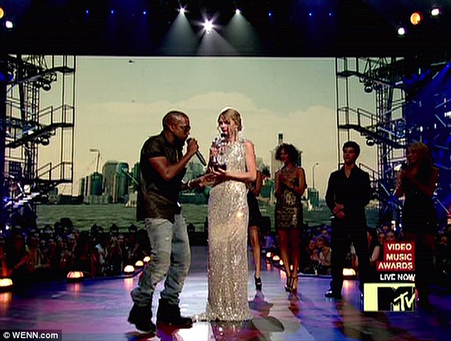 Oh no he didn't: Kanye West infamously interrupted Taylor's acceptance speech during the 2009 VMAs