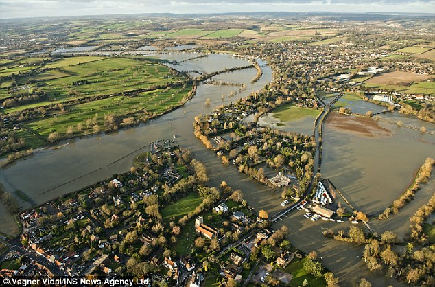This was the scene in Marlow, Buckinghamshire, after the River Thames burst its banks and flooded homes