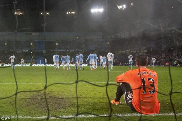 Looking bleak: West Ham were thumped again as Allardyce's injury-hit side were beaten 6-0 at the Etihad