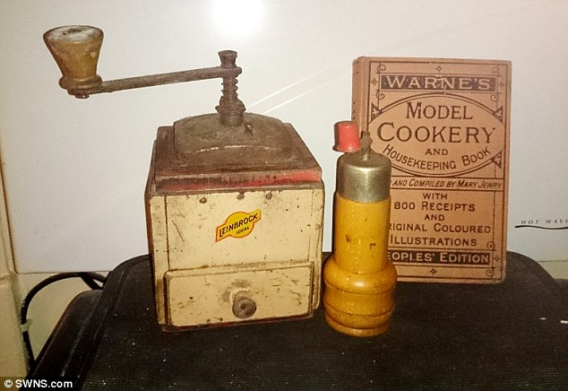 Completing the set: Gosia also owns items from much earlier, including a grinder, a pepper mill and a 19th century cook book