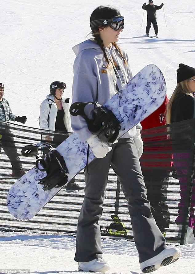 Looking cool: Kylie Jenner went snowboaring in San Bernardino in California on Wednesday with friends