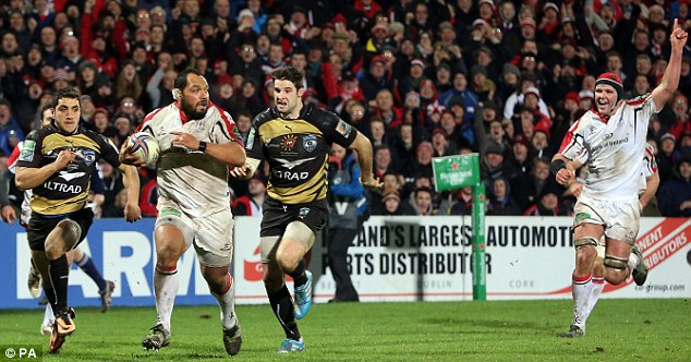 Big break: John Afoa gets away from the Montpellier backs to cross for Ulster's third maximum