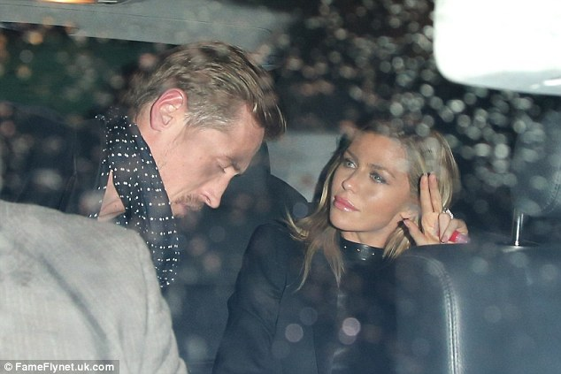 Getting a cab home: The couple looked relaxed as they made their way back from the meal