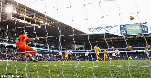 High, wide, handsome: Puncheon hit one of the worst penalties you are ever likely to see in the Premier League