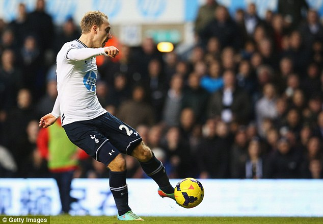Opener: Eriksen's left-footed strike put Spurs ahead after struggling in the opening 45 minutes