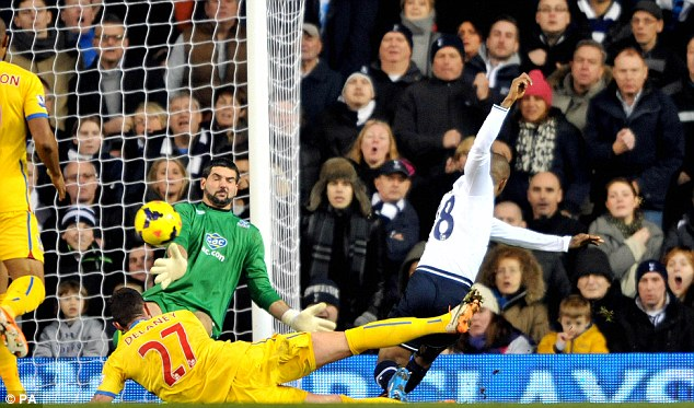 Doubled: Defoe fires the ball into the corner of the net past Julian Speroni to make it 2-0