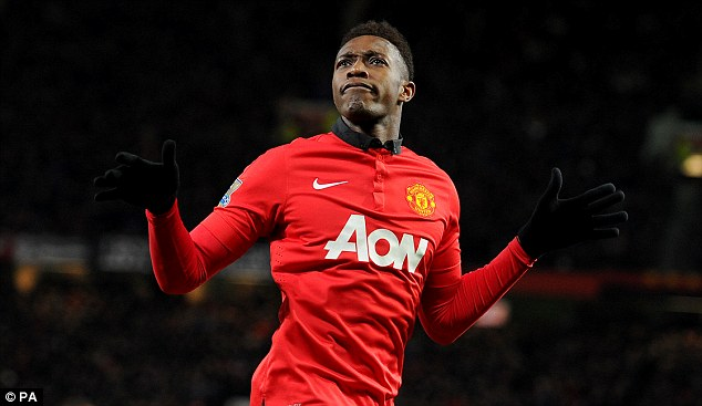 Doubled: Danny Welbeck celebrates after scoring United's second just before the hour